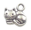 Laying Cat Charm Small in Antique Silver Pewter