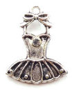 Tutu Ballet Charm in Antique Silver Pewter Dance Charm