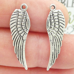 Silver Angel Wings Charms in Antique Silver Pewter Reversible