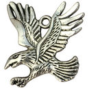 Eagle Charm Pendant with Spread Wings in Antique Silver Pewter