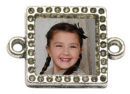 Square Photo Charm in Antique Silver Pewter Picture Charm with Double Bail