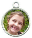 Round Photo Charm in Antique Silver Pewter Picture Charm