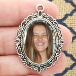 Filigree Oval Photo Charm in Antique Silver Pewter Picture Charm