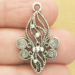 Filigree Fleur De Lis Charm in Antique Silver Pewter