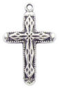 Cross Charm with Diamond Pattern in Antique Silver Pewter