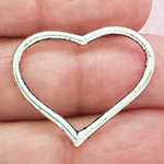 Open Heart Charm Pendant with Antique Silver Pewter Medium