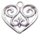 Filigree Heart Charm Pendant with Antique Silver Pewter Medium