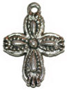 Cross Charm Pendant Small with Double Sided Bead Design in Antique Silver Pewter