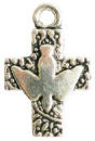Cross Charm with the Holy Spirit in Antique Silver Pewter