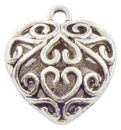 Double Sided Filigree Heart Charm Pendant with Antique Silver Pewter Medium