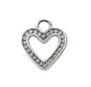 Heart Charm Pendant with Bead Accents Antique Silver Pewter Tiny