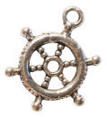 Wheel of Ship Charm in Antique Silver Pewter Nautical Charm