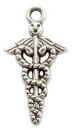 Medical Charm in Antique Silver Pewter 3D Caduceus Charm