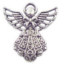 Angel Charm in Antique Silver Pewter with Ornate Dress