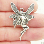 Fairy Charm in Antique Silver Pewter Large