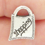 Shopping Bag Charm in Antique Silver Pewter