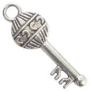 Key Charm in Antique Silver Pewter with Balloon Design