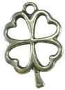 Good Luck Charm Antique Silver Pewter Shamrock Charm