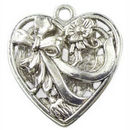 Double Sided Filigree Heart Charm Pendant with Antique Silver Pewter Large
