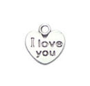 Heart Charm Pendant with I Love You Antique Silver Pewter Tiny