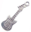 Music Charm in Antique Silver Pewter Electric Guitar Charm