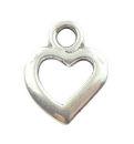Open Heart Charm Pendant with Antique Silver Pewter Tiny