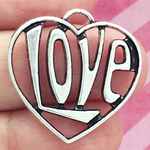 Heart Charm Pendant with Word Love Antique Silver Pewter Large