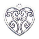 Filigree Heart Charm Pendant with Antique Silver Pewter Small
