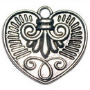 Heart Charm Pendant with Design Antique Silver Pewter Large