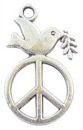 Peace Charm in Antique Silver Pewter with Dove Charm