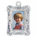 Vertical Rectangle Photo Charm in Antique Silver Pewter Picture Charm