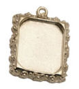 Ornate Vertical Rectangle Photo Charm in Antique Silver Pewter Picture Charm