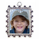 Vertical Rectangle Photo Charm in Antique Silver Pewter Picture Charm with Bead Accent
