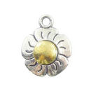Daisy Charm Antique Silver Pewter Two Tone
