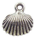 Shell Charm in Antique Silver Pewter