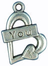 Heart Charm Pendant with Word Love You Antique Silver Pewter