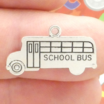 School Bus Charm in Antique Silver Pewter Teacher Charms