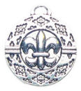 Round Disk Fleur De Lis Charm in Antique Silver Pewter