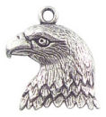 Eagle Charm in Antique Silver Pewter Bird Charm