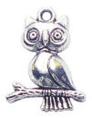 Owl Charm in Antique Silver Pewter on Branch