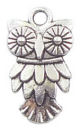 Owl Charm Small in Antique Silver Pewter Bird Charm