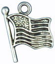 American Flag Charm Antique Silver Pewter