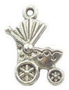 Baby Buggy Charm Antique Silver Pewter