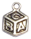 Alphabet Block Baby Charm Antique Silver Pewter