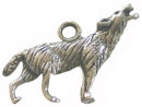 Howling Wolf Charm Small in Antique Silver Pewter Animal Charm
