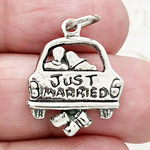 Just Married Wedding Charm Antique Silver Pewter