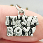 It's a Boy Baby Charm Antique Silver Pewter