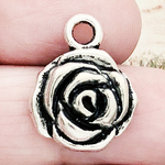 Rose Charms Wholesale Antique Silver Pewter
