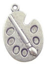 Palette with Brush Art Charm Pendant in Antique Silver Pewter