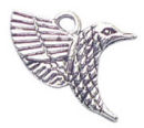 Hummingbird Bird Charm Pendant in Antique Silver Pewter